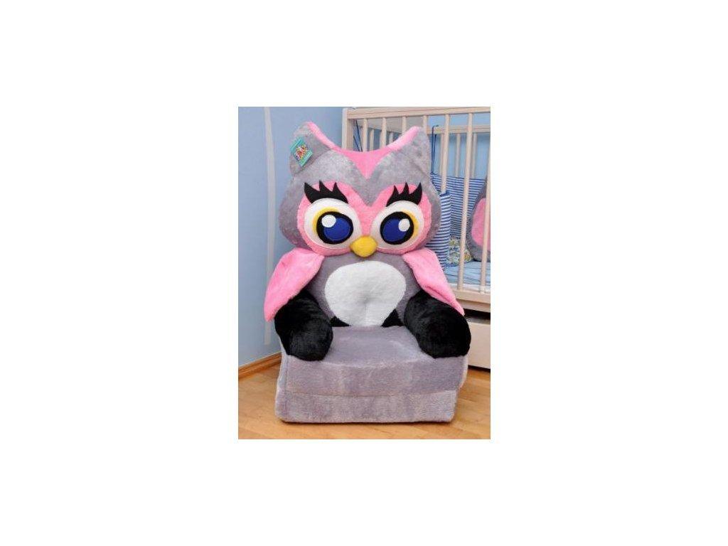Dětské plyšové křesílko Smyk 2v1 Grey Owl