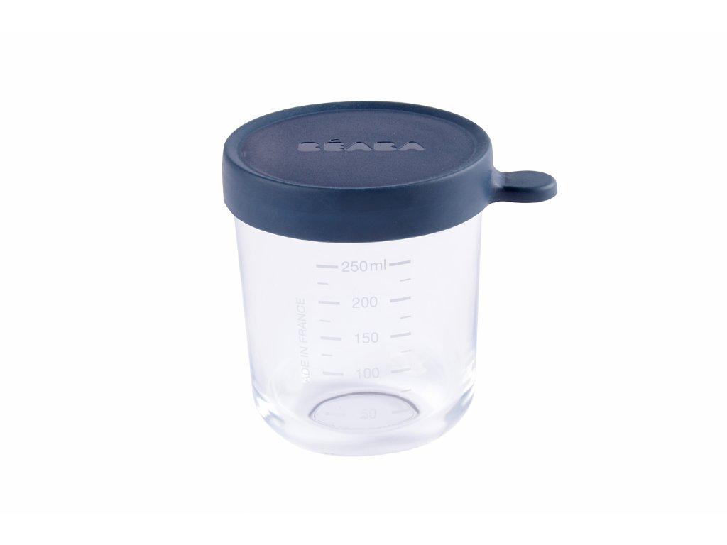 BEABA Kelímek na jídlo skleněný 250ml tmavě modrý
