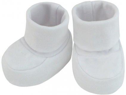ESITO Kojenecké bačkůrky bavlna malé jednobarevné - 0 - 2 měsíce / bílá ESKOJBACBAJBA