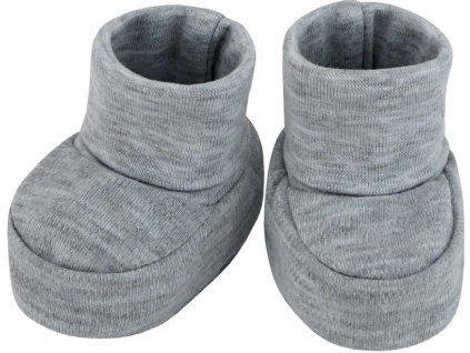 ESITO Kojenecké bačkůrky bavlna malé jednobarevné - 0 - 2 měsíce / melír šedý ESKOJBACBAJBA