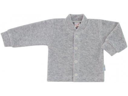 ESITO Kojenecký kabátek plyšový jednobarevný - melír šedý / 50 ESKABPLYJBA
