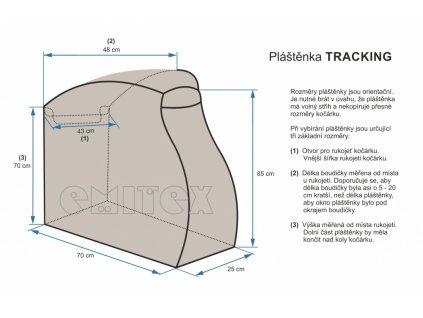 Emitex Pláštěnka na kočárek TRACKING - černá