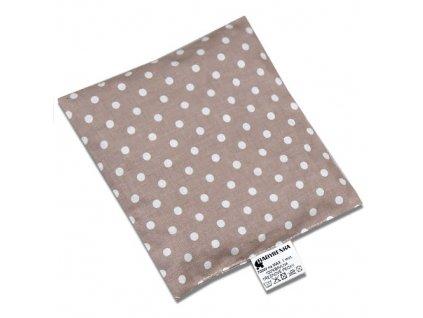 Babyrenka nahřívací polštářek 15x15 cm z třešňových pecek Puntík béžový