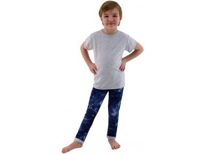 ESITO Dětské tričko jednobarevné vel. 98 - 116 - melír šedý / 116