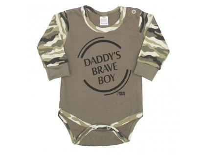 Kojenecké body s dlouhým rukávem New Baby Army boy vel.80