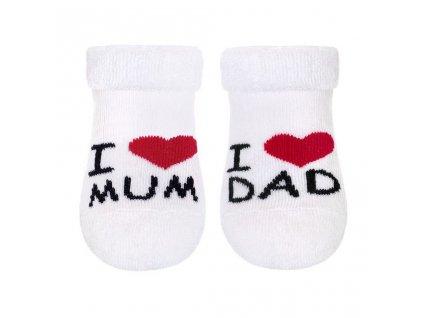 Kojenecké froté ponožky New Baby bílé I Love Mum and Dad vel.56
