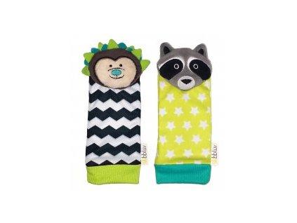 BBLÜV Düo Chrastítka na nohu Hedgehog & Racoon