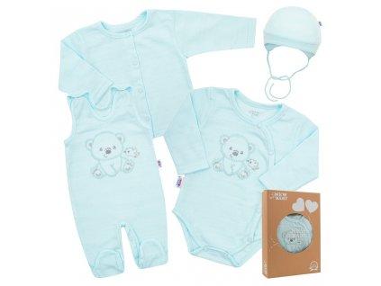 Kojenecká soupravička do porodnice New Baby Sweet Bear modrá Velikost: 56 (0-3m)