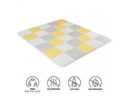 KINDERKRAFT Podložka pěnová puzzle Luno 150 x 180 cm Yellow, 30 ks