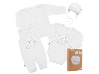 Kojenecká soupravička do porodnice New Baby Sweet Bear bílá Velikost: 56 (0-3m)