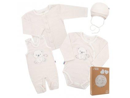 Kojenecká soupravička do porodnice New Baby Sweet Bear béžová Velikost: 56 (0-3m)