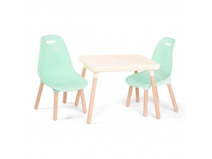 B-TOYS Dětský stolek + 2 židličky Mint