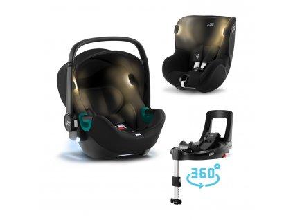 BRITAX Set autosedačka Baby-Safe iSense+Flex Base iSense+autosedačka Dualfix iSense, Space Black+Midnight Grey