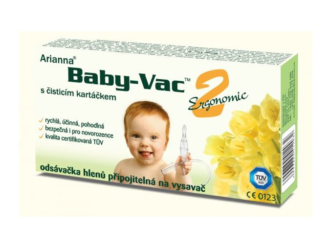 dětská nosní odsávačka hlenu na vysavač  Baby-Vac 2 Ergonomic s čistícím kartáčkem