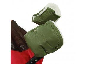 Emitex Rukávník ke kočárku/rukavice khaki + 50% kožich