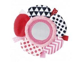 Canpol babies Šustící plyšová hračka na ruku se zrcátkem ZIG ZAG růžová Canpol 68/056_PIN