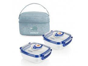 Miniland Termoizolační pouzdro + 2 hermetické misky na jídlo Blue