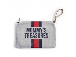 Childhome Pouzdro na zip s poutkem Grey Stripes Red/Blue