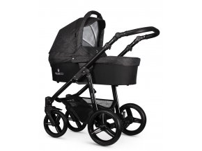 venicci soft denim black carrycot black frame