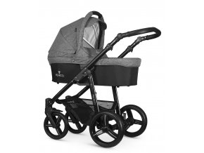 venicci soft denim grey carrycot black frame