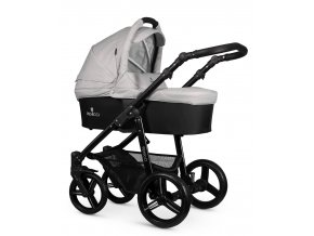 venicci soft light grey carrycot black frame 1
