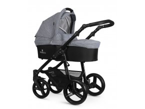 venicci soft med grey carrycot black frame (1)