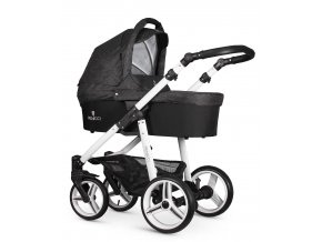 venicci soft denim black carrycot white frame