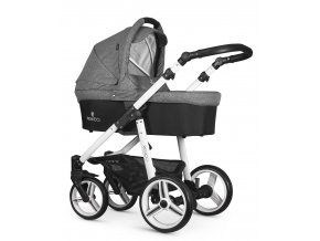 venicci soft denim grey carrycot white frame