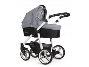 venicci soft med grey carrycot white frame