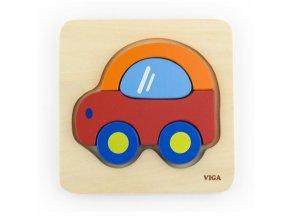 Dřevěné puzzle pro nejmenší Viga Auto