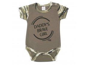 Kojenecké body s krátkým rukávem New Baby Army girl vel.56