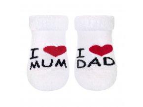 Kojenecké froté ponožky New Baby bílé I Love Mum and Dad vel.62