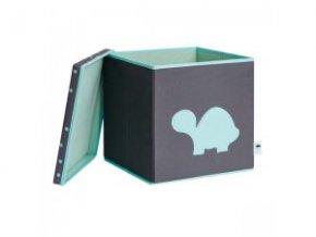 STORE IT Úložný box s víkem šedá s mintovou želvou