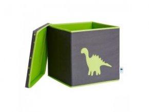 STORE IT Úložný box s víkem šedá se zeleným dinosaurem