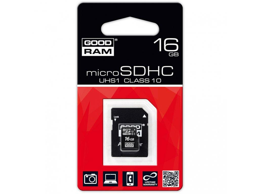 MicroSDHC 16GB CL10 UHS1 + adap.