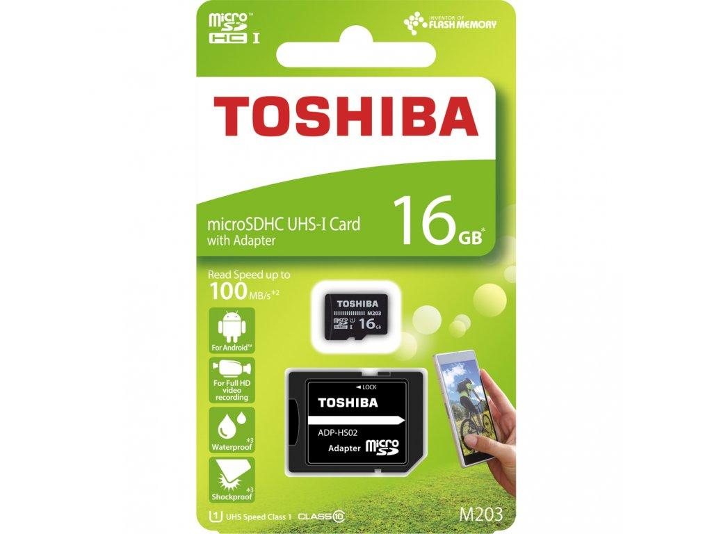 MicroSDHC 16GB CL10 UHS1 + adap. TOSHIBA