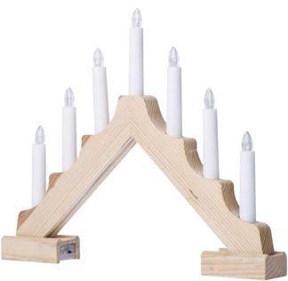 EMOS LED vánoční dřevěný svícen, 7 svíček