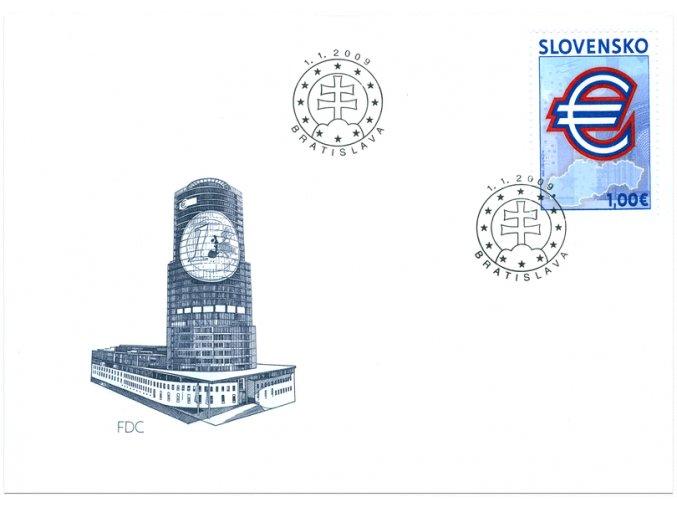 SR 2009 / 437 / Pamätná prvá eurová známka / FDC