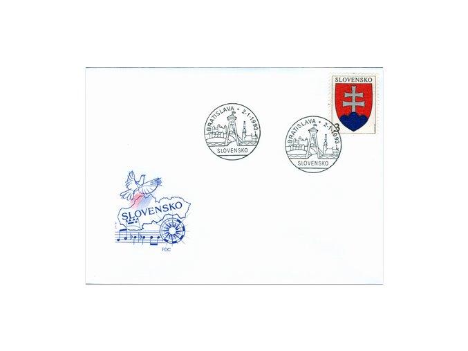 SR 1993 / 002 / Malý štátny znak FDC