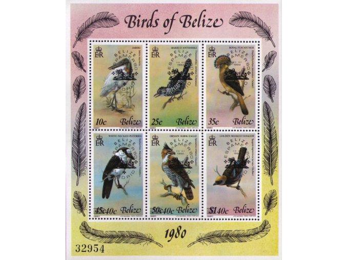 Belize 1980 / 0512-0517 Bl. 22 Vtáky, pretlač espamer´80 **