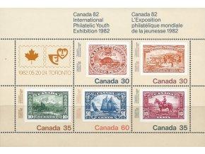 Kanada 1982 / 0822-0826 Známka na známke - medz. výstava známok Bl. 2  **