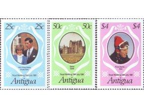 Antigua 1981 / 0628-0630 Svadba Diany a Charlesa **
