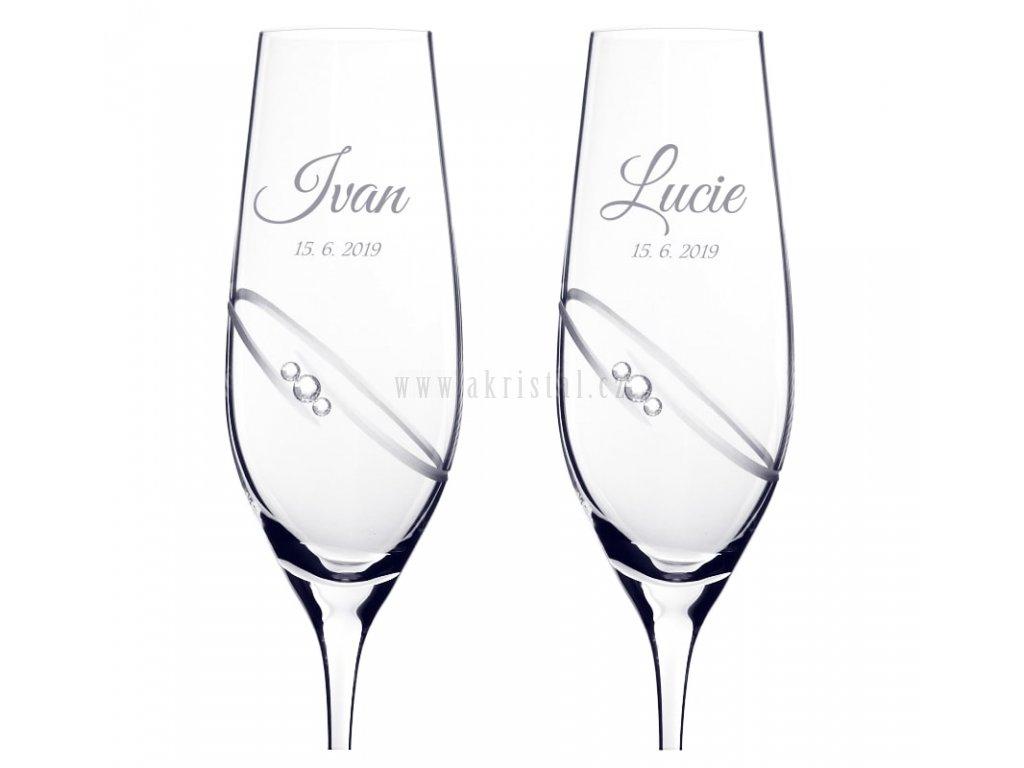 Svatební skleničky se Swarovski dekor RING