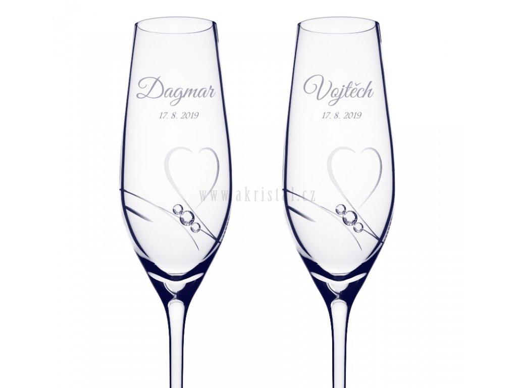 Svatební skleničky se swarovski a jmény Romantik - akristal