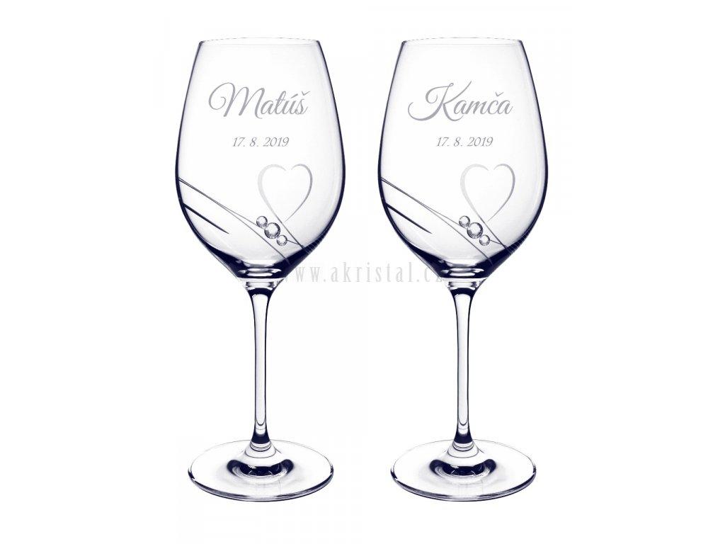 Svatební skleničky se swarovski a jmény