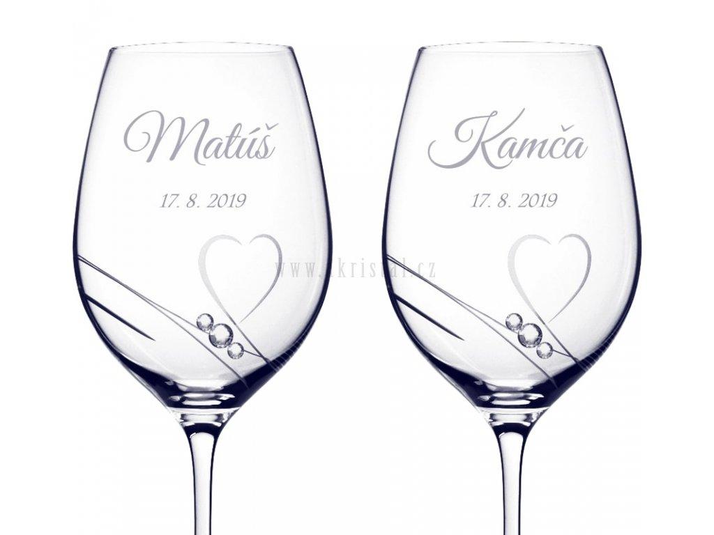 Svatební skleničky na vino se swarovski a jmény Romantik - akristal