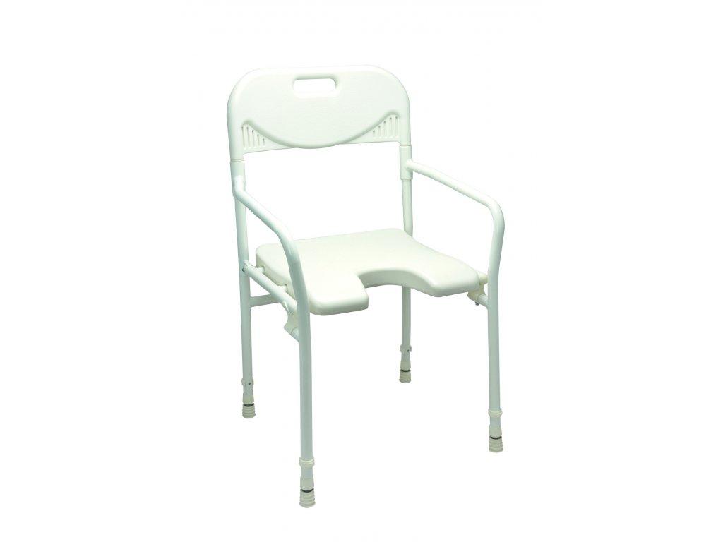 Židle do sprchy s hygienickým výřezem, područkami a opěrkou