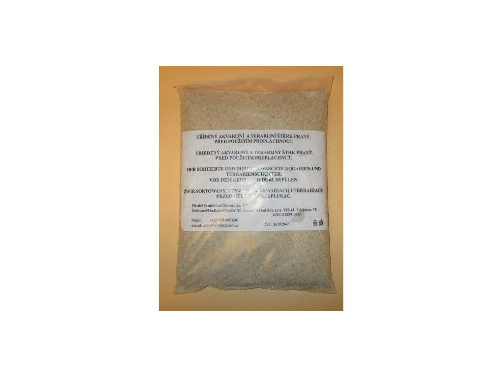 Akvarijní štěrk bílý zrnitost 0,1-0,5mm - sáček 2 l