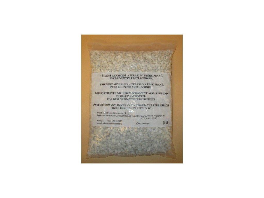 Akvarijní štěrk bílý - sáček 2 l