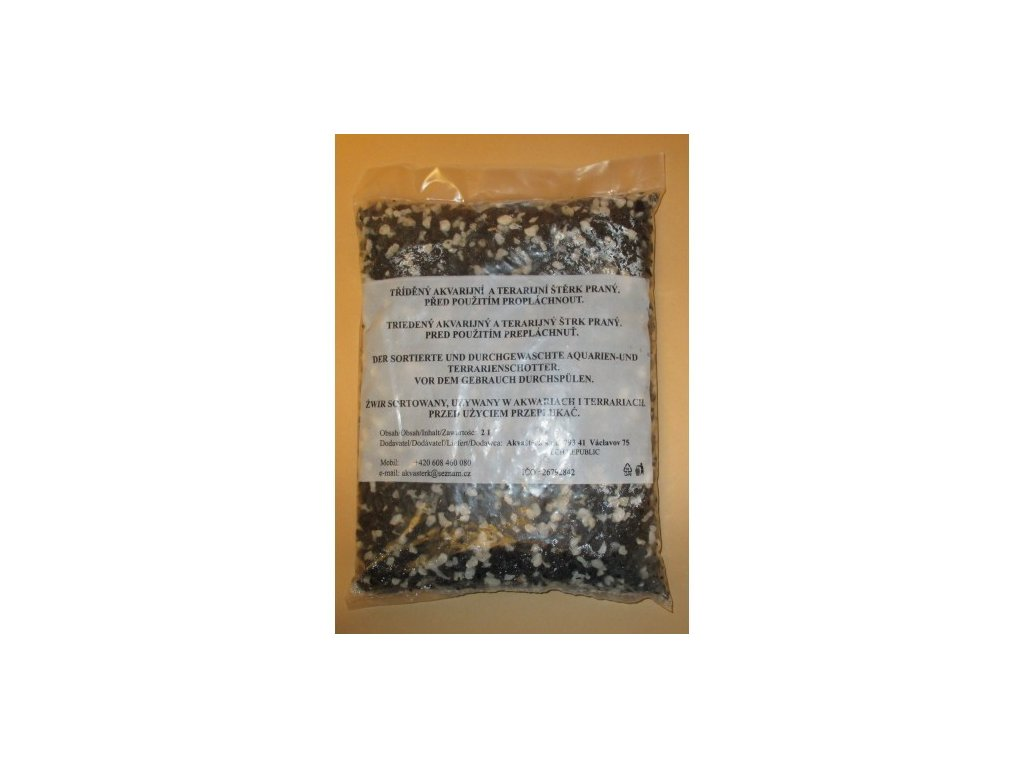 Akvarijní štěrk černo - bílý - sáček 2 l